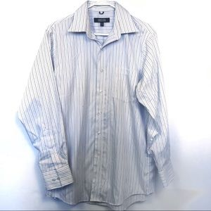 Kenneth Cole White Pinstripe Dress Short Button Up